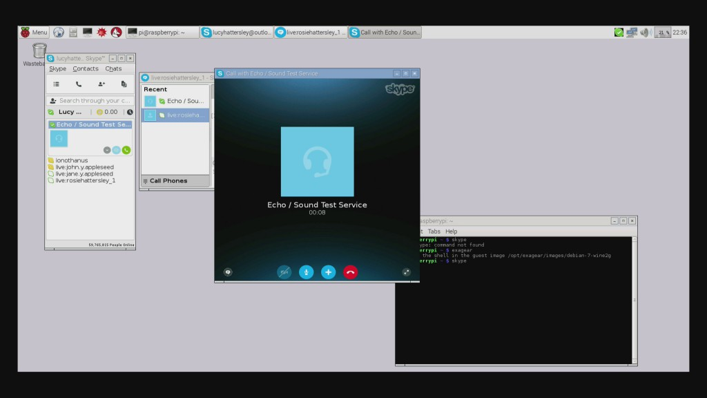 A screenshot of Exagear showing Skype