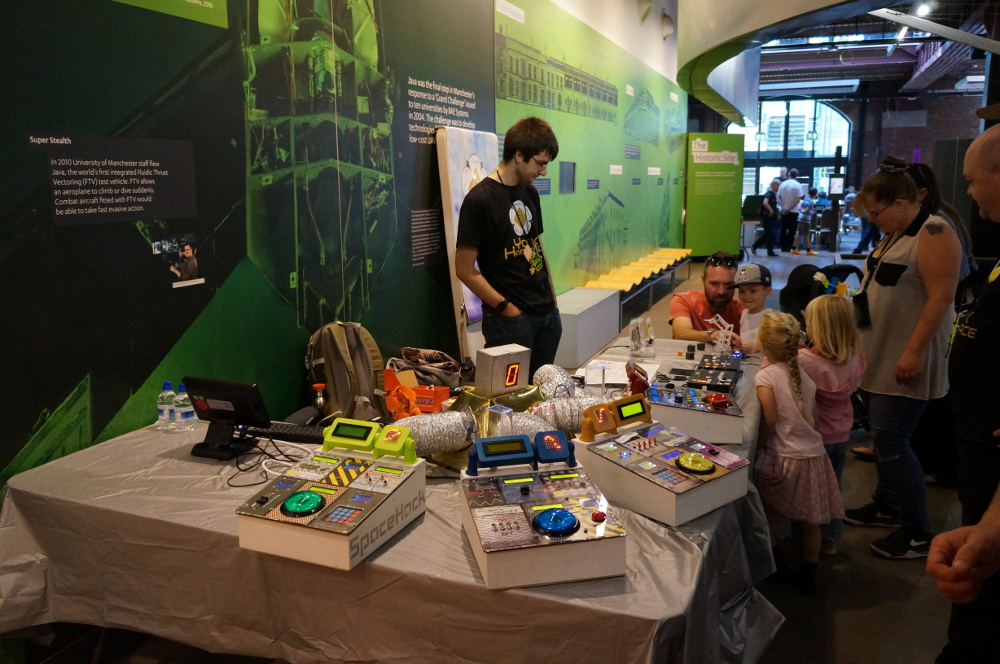 SpaceHack's retro-futuristic look seemed a natural fit in the MakeFest setting of Manchester's Museum of Science and Industry