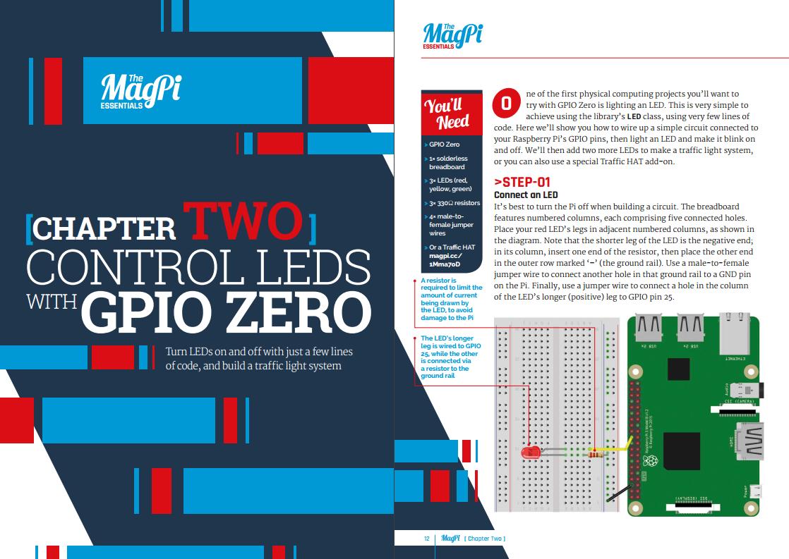 Controlling LEDs is super easy thanks to GPIO Zero