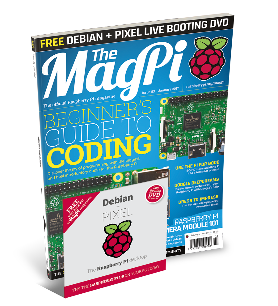 Coding guide and free PIXEL DVD in The MagPi 53