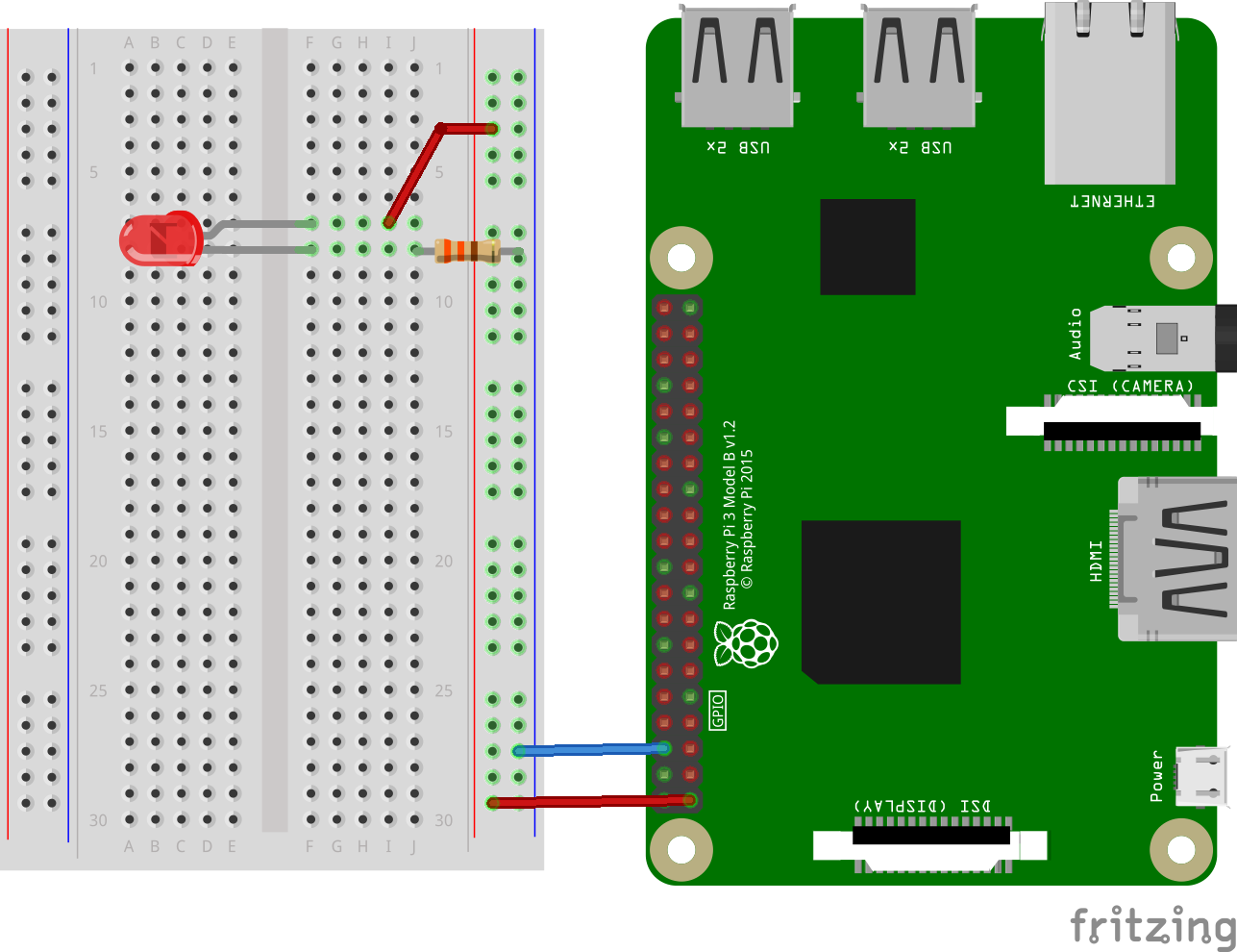 Lighting An Led Using A Breadboard A Raspberry Pi Diagram - Wiring