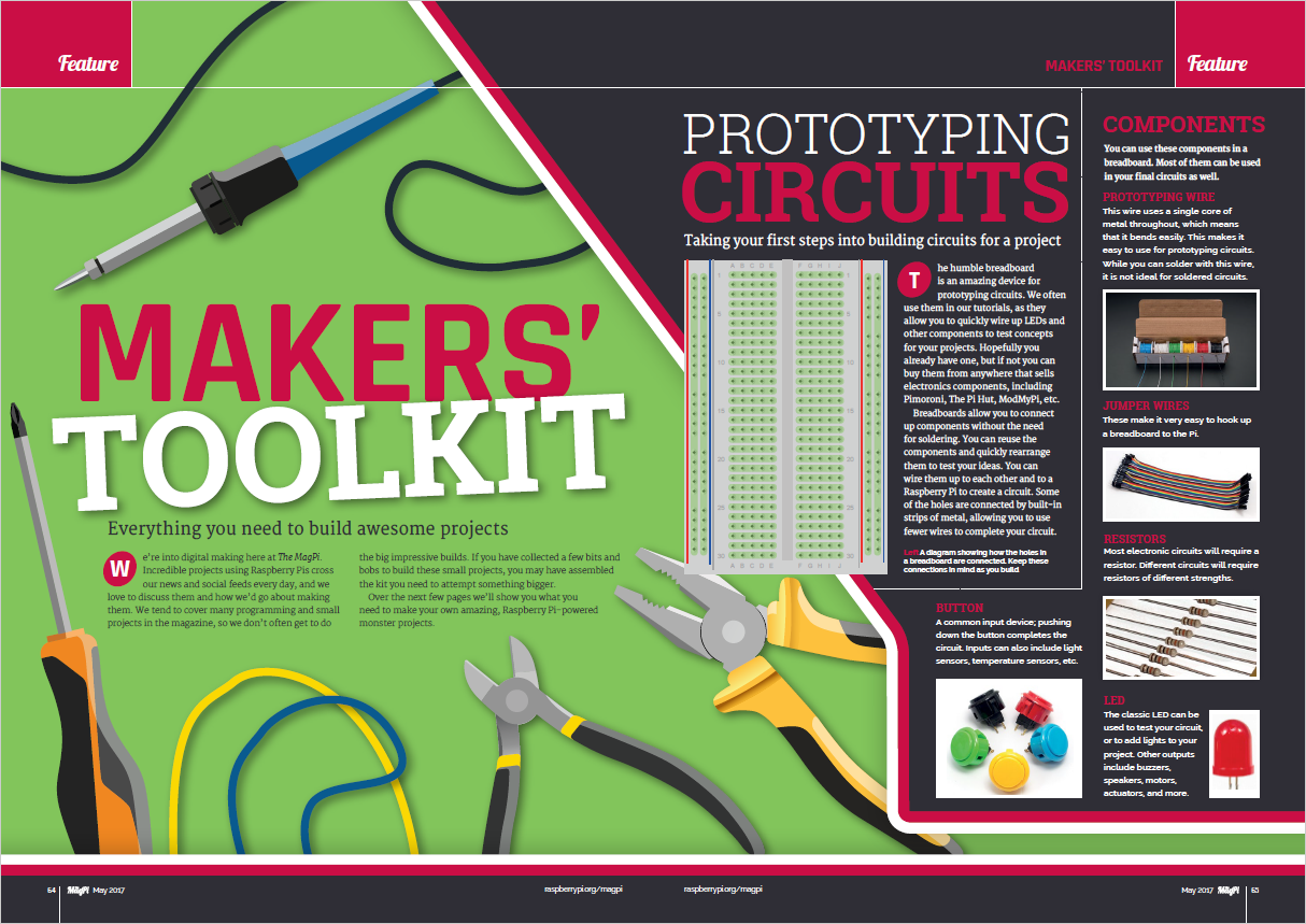 "Two-page spread from The MagPi, titled ""Makers' Toolkit"""
