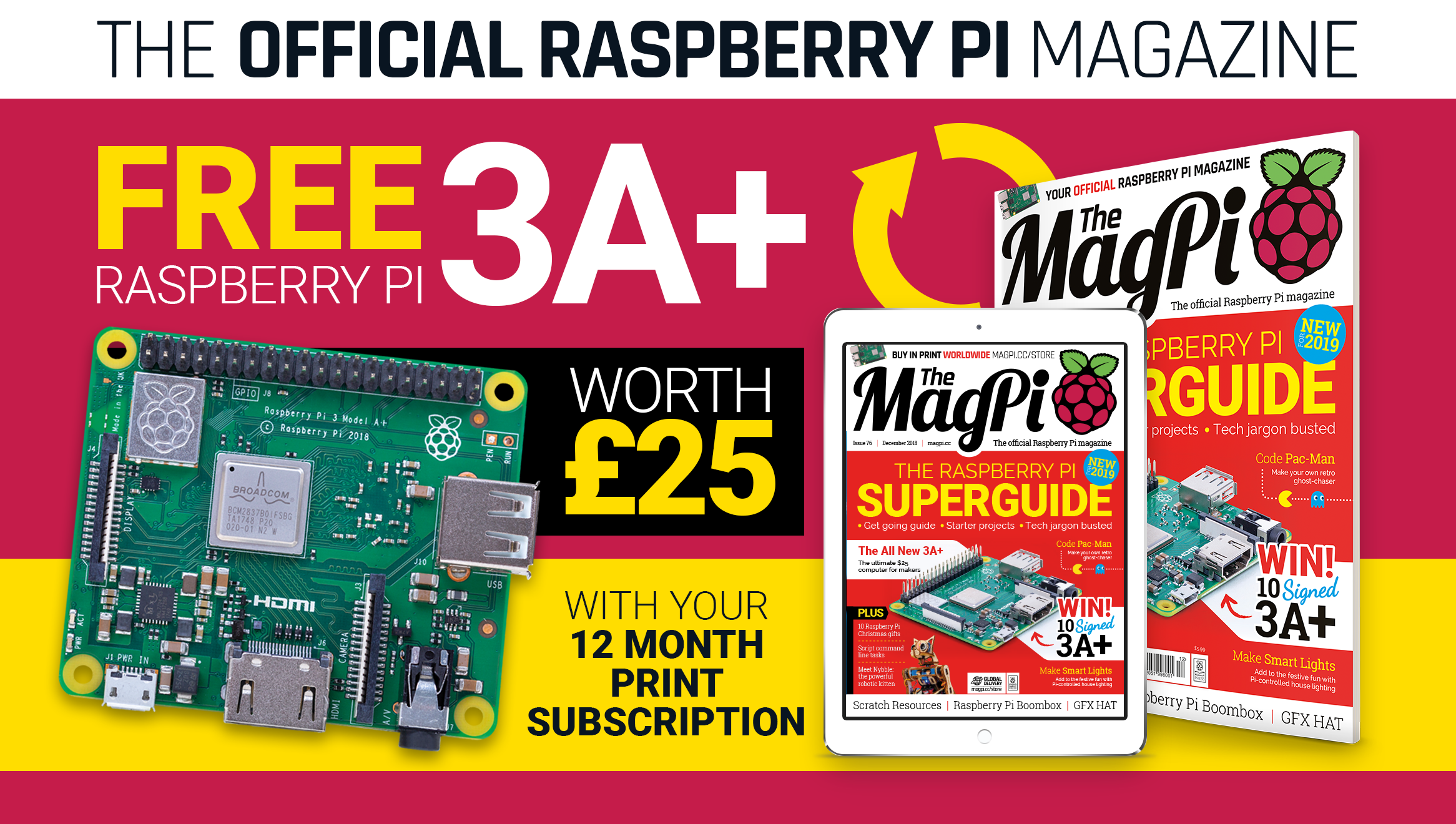 Free Raspberry Pi 3A+ with 12-month subscription